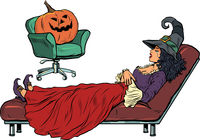 halloween witch and pumpkin, psychotherapy session. Seasonal autumn psychological disorder