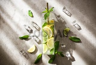 Tasty lemonade on table in kitchen