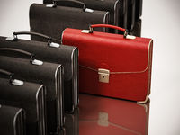 Red briefcase standing out among black briefcases. Business and success concept. 3D illustration