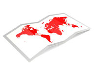 World map in red isolated