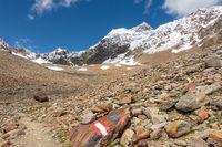 Die schneebedeckte Wildspitze (3768 m) im Sommer, der höchste Berg im Ötztal, Österreich