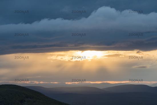 Mitternachtssonne auf dem Berg Dundret, Dundret Naturreservat, Gaellivare, Lappland