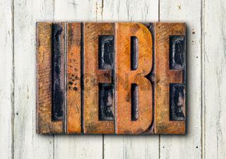 Antique letterpress wood type printing blocks - Love in german - Liebe