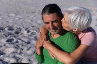 Senior Caucasian couple enjoying time at the beach