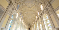 Gallery interior with amazing luxury marble, Venaria Reale, Italy.