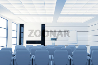 empty modern conference room with microphones and visual board and chairs