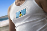 The national flag of Saint Lucia on the athlete's chest