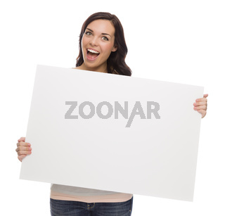 Beautiful Mixed Race Female Holding Blank Sign on White