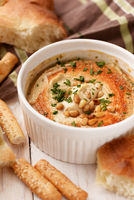 Hummus with pine nuts and bread