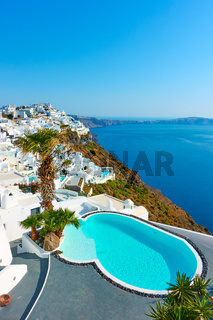 View of seside of Santorini island