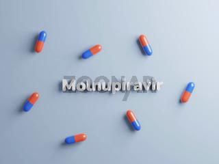 Poltava, Ukraine - 19 October 2021 Molnupiravir pills, treatment of covid. Coronavirus medication, 3d render. Flat lay of red and blue capsules on blue background