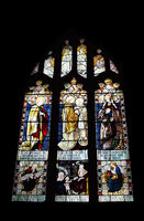 19th century stained glass window dedicated to charles grey rigge in the medieval cartmel priory in cumbria