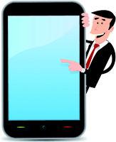 Cartoon Man Pointing Smartphone