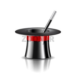 Magic hat and magic wand on white background