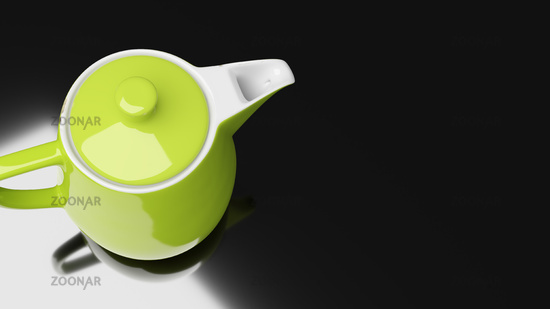 green ceramic coffee pot with fault imperfections