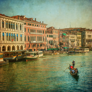 Vintage image of Grand Canal, Venice