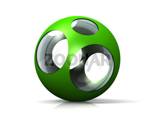 a  glass ball and green metal