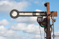 An old railway signal, which was set to green