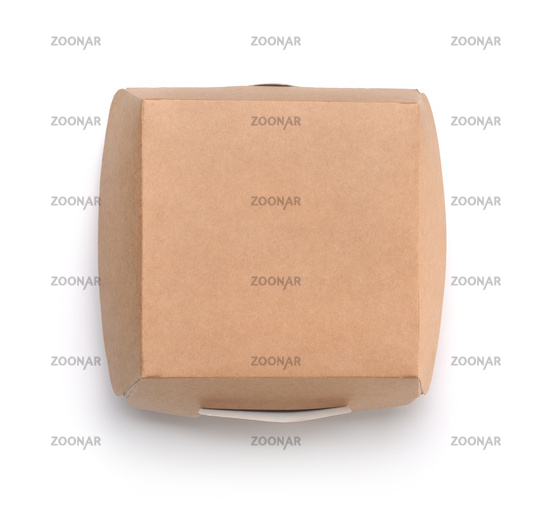 Top view of brown blank paper burger box
