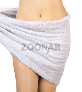slim woman body with towel