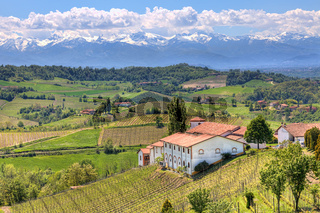 Rural house on the hills in Piedmont, Italy.