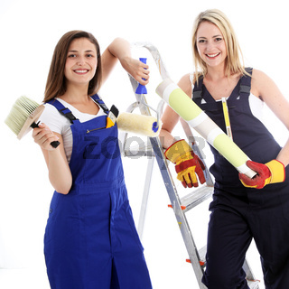 Happy confident woman decorators