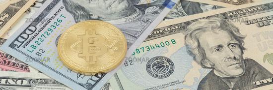 Bitcoin Krypto Währung online bezahlen digital Geld Kryptowährung US-Dollar Wirtschaft Finanzen Banner Textfreiraum Copyspace