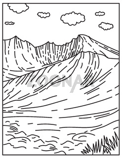 Wheeler Peak Located in Great Basin National Park in Nevada United States Mono Line or Monoline Black and White Line Art