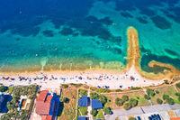 Biograd na Moru idyllic turquoise beach aerial view