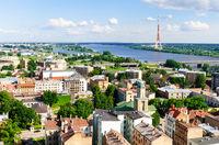 Riga stadt panorma fluss düna