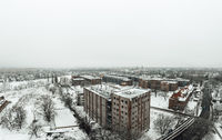 aerial view on winter snow landscape in Berlin