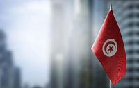A small flag of Tunisia on the background of a blurred background