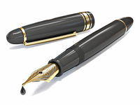 Opened golden black fountain pen 3D
