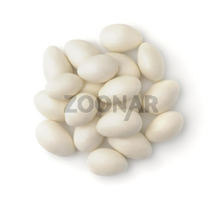 Top view of white chocolate covered nuts