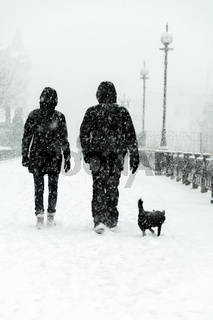 The family goes through a blizzard