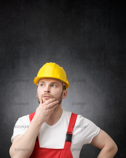 Portrait of a thoughtful construction worker