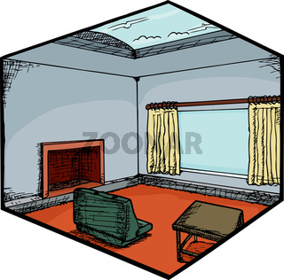 Living Room with Skylight