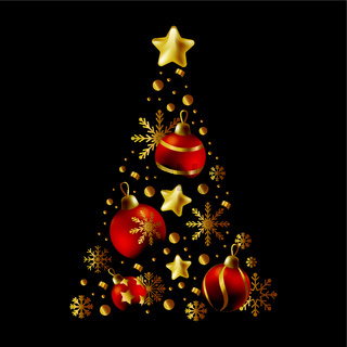 Christmas tree made up of holiday elements, red and gold colors, 2022 year - Vector