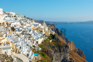 Fira town on the coast of Santorini in Greece
