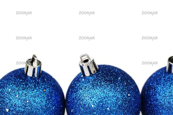 blue christmas balls isolated on white