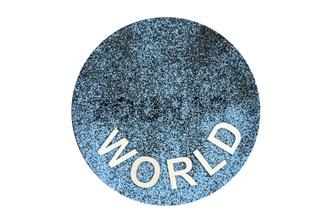 Word world on sand below
