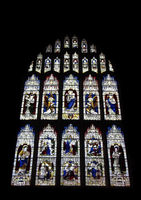 19th century stained glass window dedicated to saints and the natisrtmel priory in cumbria