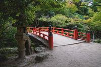 Typical japanese bridge in autumn park on Mount Misen in Miyajima, Hiroshima, Japan