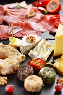 Antipasto catering platter with salami and cheese