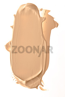 Beige beauty cosmetic texture isolated on white background, smudged makeup emulsion cream smear or foundation smudge, crushed cosmetics product and paint strokes