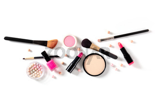 Makeup tools, shot from the top on a white background with a place for text