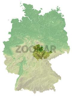 Thüringen - topografische Relief karte