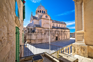 Town of Sibenik cathedral of st James square view