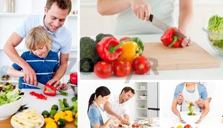 Collage of people preparing vegetables