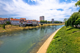 River Kupa and town of Karlovac waterfront view